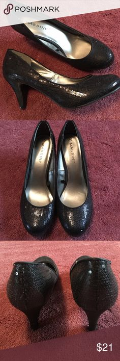 Sequin like new black Massini 8 pump for Holidays Sequin like new black Massini 8 pumps for the Holidays!  I wore these one time only. The very feminine tiny sequins are sewn on and all intact. Massini Shoes Heels