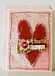 Shabby Valentine's Card...with distressed red heart & white paper doily.