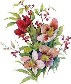 Kapfernando : I Will Design Seamless Pattern Design For $5 Folk Art Flowers, Botanical Flowers, Flowers Nature, Vintage Flowers, Flower Art, Beautiful Flowers, Watercolor Flowers Tutorial, Flower Tutorial, Black And White Flower Tattoo
