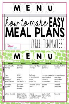 Make Easy Meal Plans With This Free Weekly Template  Daycare