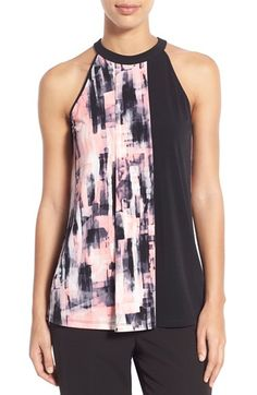 Ellen Tracy Print Block Jersey Halter Top available at #Nordstrom