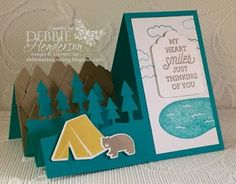 #CCMC410 color challenge using Always An Adventure and Outdoor Adventure Framelits Dies. I made a Stair Step Card Fold. Debbie Henderson, Debbie's Designs