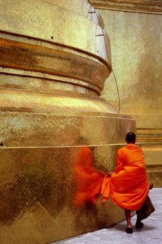 Buddhist monk at Grand Palace, Bangkok, Thailand