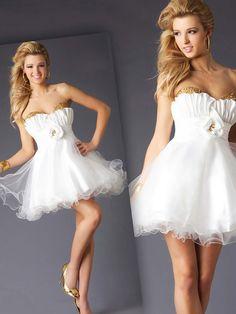 Empire Sweetheart Tulle Short/Mini Sleeveless Sequins Prom Dresses at Msdressy