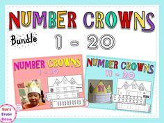 Number Crowns 1-20 (The Bundle) for PreK, K and 1st grade.