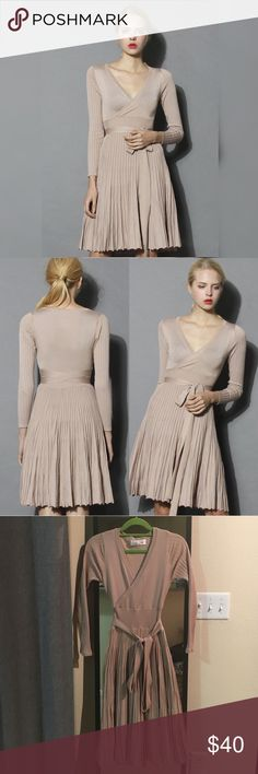 Chicwish nude knit dress Chicwish nude knit dress/cute/worn once for wedding/still brand-new chicwish Dresses