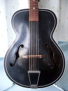 Vintage 60's Kay made Silvertone model 658 Archtop Acoustic! beat but sweet! a rare black and white two tone model (and pin stripes no less!