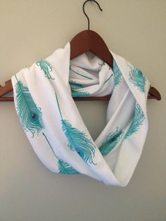Lightweight Infinity Scarf / White with Teal by LilyAlyssaBoutique, $24.00