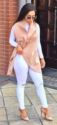 All white Tan jacket Tan heels Fashion Wear, Look Fashion, Fashion Outfits, Womens Fashion, Black Girl Fashion, White Fashion, Fall Winter Outfits, Autumn Winter Fashion, Modele Hijab
