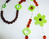 Brown and Green Large Flower Necklace Jewellery Plastic Beads Summertime Kawaii
