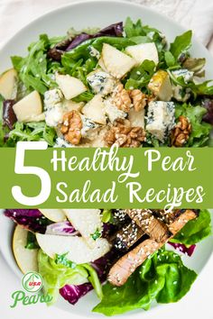 Enjoy these healthy pear salad recipes this summer. Combine arugula or spinach, feta or gorgonzola, and walnuts or apples with pears for a sweet and savory combination. For an added kick poach or roast your pears ahead of time! Pear Recipes Breakfast, Pear Recipes Easy, Quick Recipes, Clean Eating Recipes, Healthy Dinner Recipes, Healthy Eating, Pear Varieties, Pear Salad, Dinner Sides