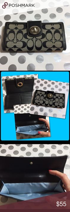 Authentic Coach Wallet Authentic Coach Wallet 12 spaces for credit cards two openings for cash or other misc. Then on the other side is a perfect place for change Coach Signature look beautiful Leather it has been treated with Coach Leather Moisturizer gently loved and used. Coach Bags Wallets