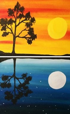 Day Into Night Reflection Partner Painting