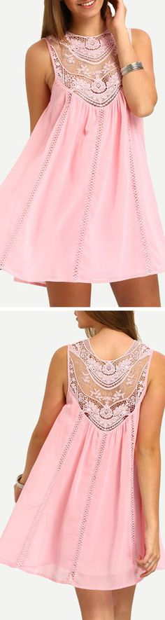 Shop Pink Sleeveless Crochet Lace Embroidered Dress at ROMWE, discover more fashion styles online. Cute Dresses, Beautiful Dresses, Casual Dresses, Short Dresses, Summer Dresses, Dress Me Up, Dress Skirt, Look Fashion, Womens Fashion