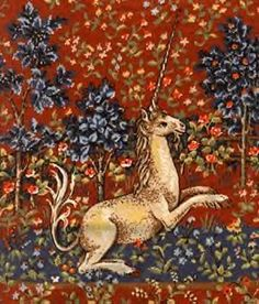 A traditional unicorn   Has the body of a stag,   the tail of a lion,   and the head of a goat   with a single horn.