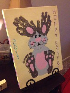 Hoppy Easter Canvas Hand & Footprint Bunny