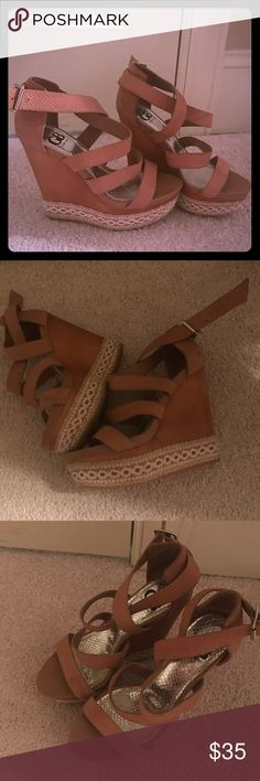 Gianni bini tan wedge sandal leather size 7.5 Mint condition, 100% leather, straps around ankle, with super cute design around bottom of shoe with wood looking Wedge, platform heels. Gianni Bini Shoes Platforms
