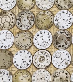 LOVE! @Tim Harbour Holtz Timepieces print - premium #quilt fabric at Jo-Ann!  I cannot wait to get my hands on this fabric!! I'm so happy T!im Holtz entered the fabric world!!