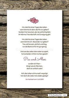 Gastgeschenke - Druck/Print: Individuelles Liebesgedicht, Hochzeit - ein Designerstück von DiePersoenlicheNote bei DaWanda