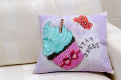 Colorful cupcake painted with vivid acrylic by ThePillowWorld