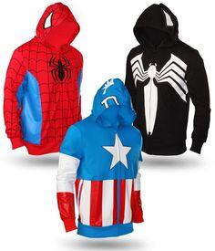 Marvel Hoodies-- I totally want that Spiderman one. Super Hero Outfits, Cute Outfits, Marvel Hoodies, Marvel Sweatshirt, Spiderman Hoodie, Black Spiderman, Batman, Zip Hoodie, Moda Nerd