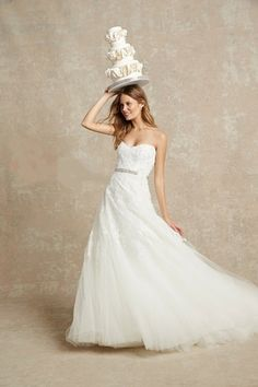 Bliss Monique Lhuillier - Sweetheart A-Line Gown in Chantilly Lace
