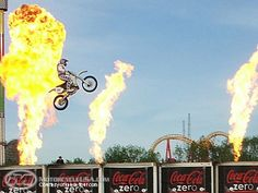 Shooting flames always helps boost the adrenaline when you leap over a few buses Robbie Knievel, Dirtbikes, Extreme Sports, Badass, Neon Signs, Pure Products, Adventure, Buses, People