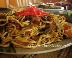 Okinawa Yakisoba - This was my all time favorite when I lived in Okinawa.  Haven't been able to find anything as good in the states, probably because they weren't using the Okinawa soba noodles.  Super Yum!