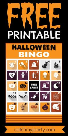 If you're throwing a kids' Halloween party, or even one for adults, how about using these FREE printable Halloween bingo cards as an easy activity to entertain your guests? See more party ideas and share yours at CatchMyParty.com #catchmyparty #partyideas #freeprintable #halloweenbingo Halloween Bingo Cards, Halloween Countdown, Halloween Party Favors, Halloween Celebration, Halloween Activities, Fun Activities For Kids, Party Activities, Family Halloween, Free Baby Shower Printables