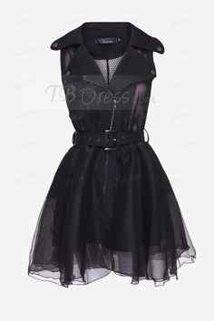 TBdress Design Fabulous Lapel Button Zipper Mesh Bubble Skirt Dress