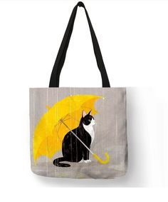 Cat Tote Bag -Cute Cat Tote Bag - These rainbow leaf prints just require washable markers, leaves, and paper. Cat in umbrella Funny Black Cat Holding on with Claws Cotton Tote Bags, Reusable Tote Bags, Painted Bags, Hand Painted, Cat Bag, Shopper, Canvas Tote Bags, Purses And Bags, Textiles