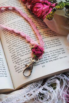 Crochet rose lanyard ID badge holder by DancingCloudsandmore