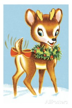Reindeer With Ribbon On Tail ChristmasChristmas ClipartChristmas PicsRetro