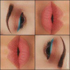 Blue eye-liner by Prestige Cosmetics with Faux nude Lips by MAC!   Follow me on instagram @abbeauties