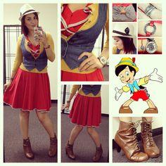 Girls adorable take on Pinocchio. #DisneyBound #DisneySide