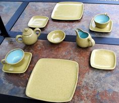 Mid Century Modern Glidden Pottery Square Speckled Yellow Dinner Place Settings | eBay