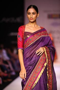 The blouse, the border and the saree colour. Sigh. Outfit by Shruti Sancheti, LFW 2013
