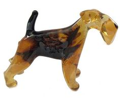 Airedale Glass Dog Figurine  (code 129)