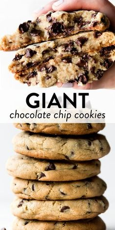 These GIANT chocolate chip cookies are soft and chewy with crispy edges and tons of chocolate! Recipe yields 6 big chocolate chip cookies. The best chocolate chip cookies on sallysbakingaddiction.com #chocolatechipcookies #cookies #baking Easy Baking Recipes, Best Cookie Recipes, Snack Recipes, Dessert Recipes, Dessert Ideas, Cake Recipes, Giant Chocolate, Best Chocolate Chip Cookie, Basic Butter Cookies Recipe