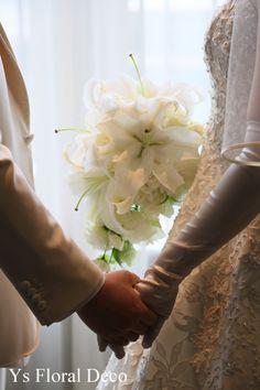白ユリのキャスケードブーケ  ys floral deco @ウェスティンホテル東京
