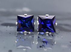 Blue Sapphire Studs Earrings Lab Created 2.6 CTW Sterling Silver Princess Cut Jewelry September Birthstone Birthday Bridal Anniversary E58 #afflink