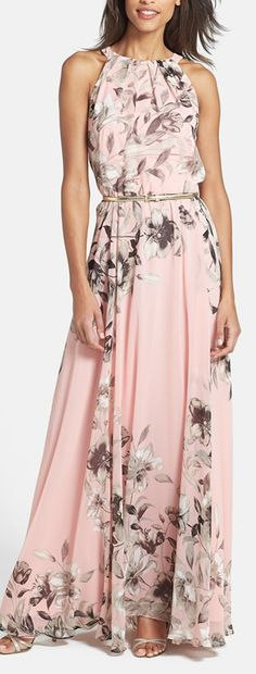 soft floral chiffon maxi dress with cardigan