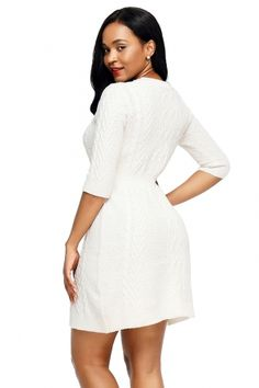 89ac24b3150 White Cable Knit Fitted 3 4 Sleeve Sweater Dress