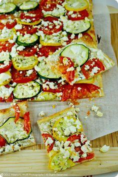 Tarte Flambée : Tomato, zucchini and feta cheese