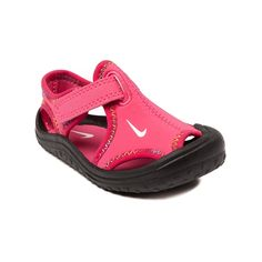 Shop for Toddler Nike Sunray Protect Sandal in Fuchsia Black at Journeys Kidz. Shop today for the hottest brands in mens shoes and womens shoes at JourneysKidz.com.Keep her  feet safe, comfy, and stylish with the Nike Sunray Protect! Sporty sandal with a synthetic upper backed by Lycra spandex for a snug, easy stretch fit. Features hook and loop strap fastener, Phylon midsole and molded outsole to keep her cushioned, grounded, and light on her feet!