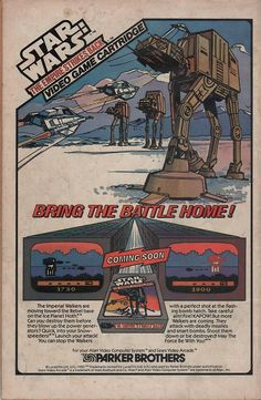 "Publicidad del videojuego ""Star Wars: The Empire Strikes Back"" (1982) de Parker Brothers."