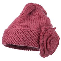 1e2dc74839c Ladies Flower Accent Cuff Beanie - Pink OSFM -- You can get additional  details at the image link.