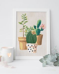 potted cactus Cactus print cactus art by PrintableLifeStyle