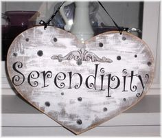 Serendipity White Heart With Black Polka by mycountrycottagesign, $18.95