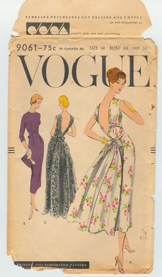 Vogue 9061 Vintage 1950s Gown and Dress Sewing by TheStyleSpectrum, $85.00